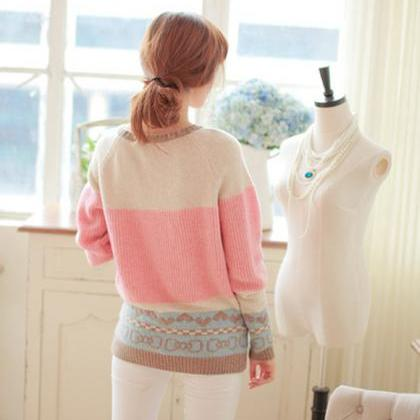 Sweet Mixed Color Pullover Sweater