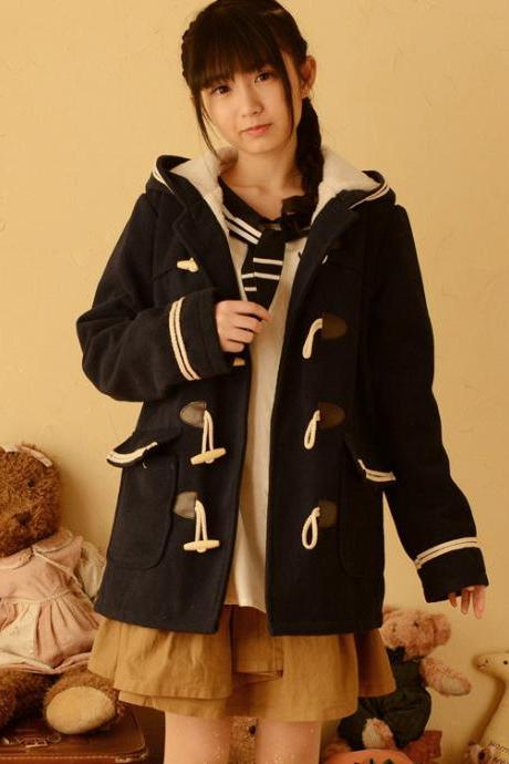 College Wind Thick Winter Hooded Coat