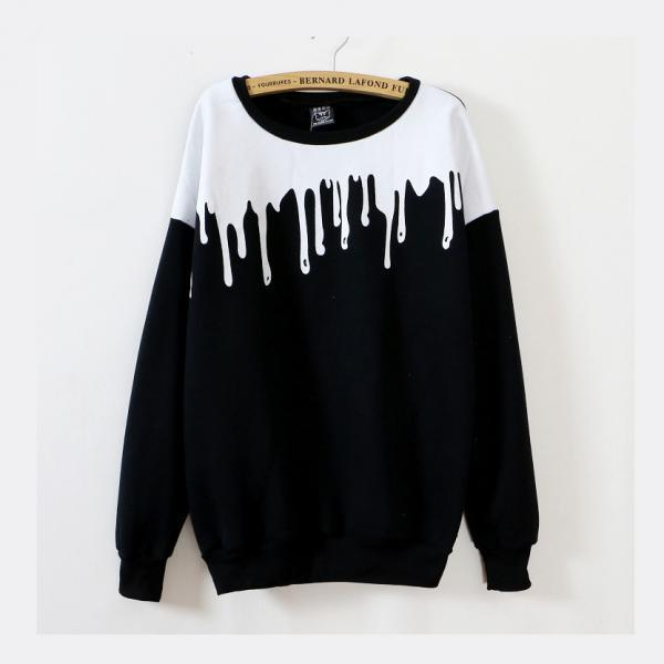 Harajuku Pouring Milk Long Sleeve Sweater