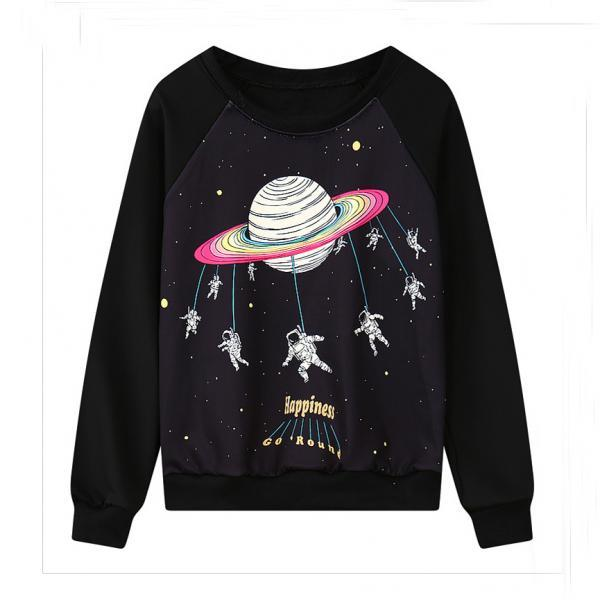Harajuku galaxy round neck long-sleeve sweater