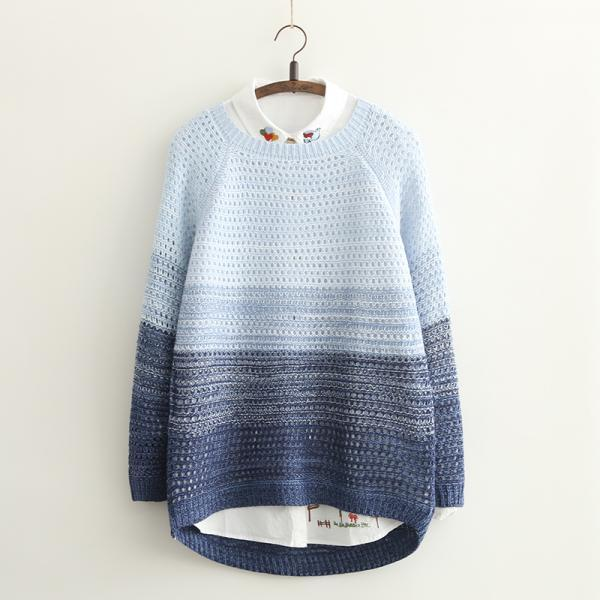 Sweet hollow out gradient knit Sweater